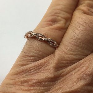 Sterling silver 14k plated CZ stacking ring